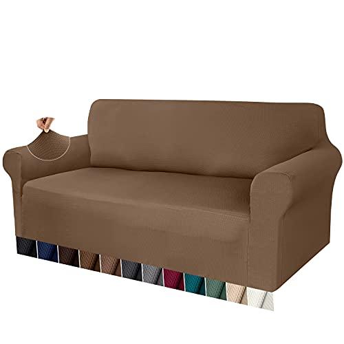 Granbest Funda de Sofá Elástica Funda Sofá Gruesa 1 Pieza Funda para Sofá Premium Antideslizante Protector de Muebles Patrón de Gofre Jacquard(Caqui, 4 Plaza)