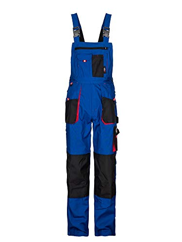 Stenso Emerton - Pantalones con Peto de Trabajo para Hombre - Resistentes - Azul Real/Negro/Rojo - 48