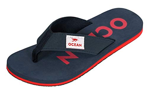 MADSea MADSea Damen Herren Zehenstegpantolette Ocean Zehentrenner Sandale dunkelblau rot, Größe:46 EU, Farbe:dunkelblau/rot