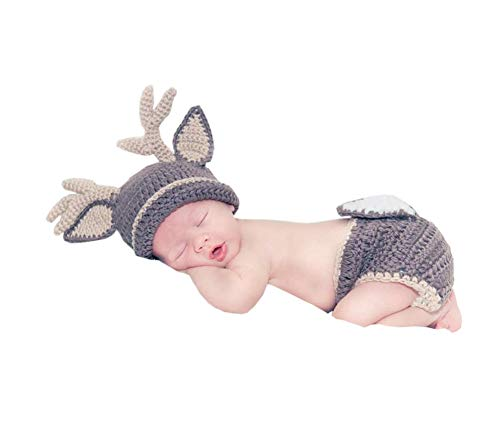 Pinbo Baby Photography Prop Crochet Knitted Deer Beanie Hat Diaper Costume
