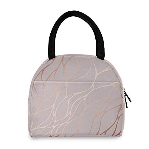 Bolsa de almuerzo F17 con textura de mármol de oro rosa, caja de almuerzo con aislamiento reutilizable para senderismo, picnic, viajes, playa, trabajo, escuela, oficina, niños y adultos