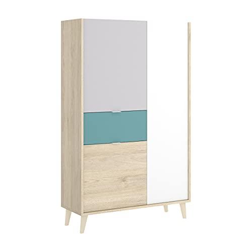 Homely - Aparador Alto de diseño nórdico Nova Tablero de partículas melaminizado en Color Blanco/Esmeralda/Natural/Gris 81x43x135 cm