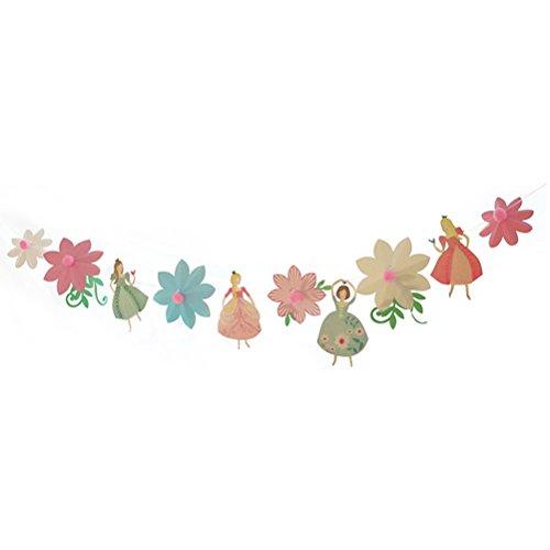 BESTOYARD Banner Cartoon Prinzessinnen und Blumen Girlande Girlande hängen für Geburtstag