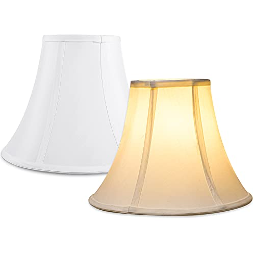 Lamp Shades Set of 2 for Table Lamps Small, 10''HxTop 6''W/Bottom 13''Wx13''D (Spider), Cuhom White Lamp Shade for Floor Lamps, Silk Shantung Bell Lamp Shade Replacement, Simple Assembly Required
