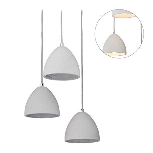 Relaxdays 3-pits hanglamp voor eettafel, modern design van beton, Trio hanglamp, E27, HxD: 122 x 25 cm, grijs