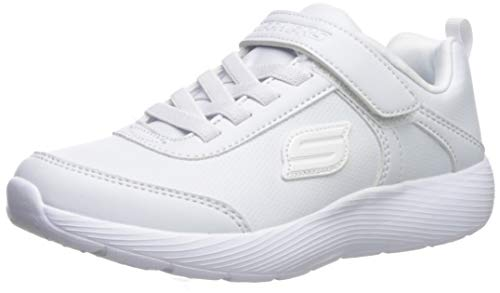 Skechers Dyna-Lite-School Sprints, Zapatillas, Blanco White Duraleather Trim Wht, 31 EU