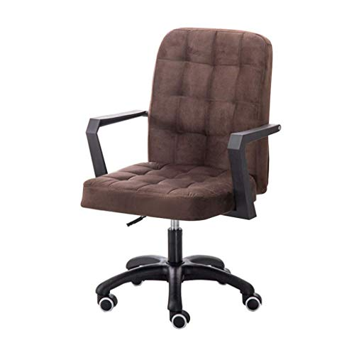 Desk Chairs Middle Backrest Chair Nylon Feet, Flannel Cushion, Highly Adjustable For Computer Workstation, Brown Good Life