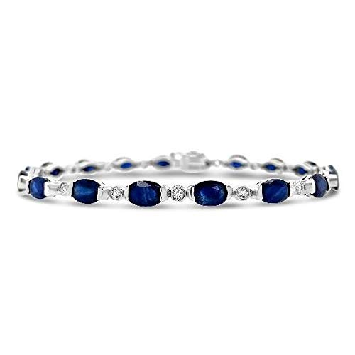 925 Sterling Silver Genuine Blue Sapphire and White Topaz Tennis Bracelet (10 Cttw), 7'