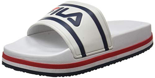 FILA Damen Morro Bay Zeppa wmn Slipper, White/Stripe, 38 EU