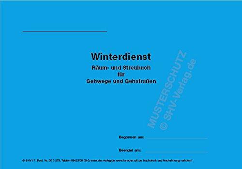 Winterdienst, Streubuch für Gehwege und Gehstraßen, Grundstücke, mit Ringösen zum Abheften