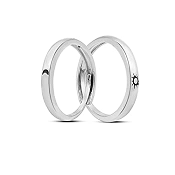 Sun Moon Couple Matching Rings for Women Men,Open Adjustable Couple Friendship Stackable Ring Sets Simple Engagement Wedding Statement Ring Jewelry  Sun Moon lovers rings 2