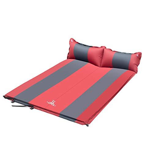 ROULING Isomatte für 2 Personen Camping Schlafmatte Aufblasbar Wasserdicht Faltbar mit Kissen Luftmatratze klappbar - Liegematte für Outdoor, Wandern 192 x 132 x 5 cm (Rot)