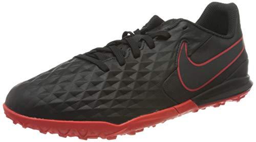 Nike Unisex-Child Jr. Legend 8 Academy TF Football Shoe, Black/Dark Smoke Grey-Chile Red-Chile Red, 29.5 EU