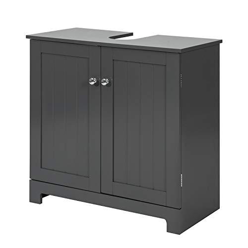 SoBuy BZR18-DG Waschbeckenunterschrank Badschrank Waschtisch Unterschrank Badmöbel dunkelgrau BHT ca: 60x60x30cm