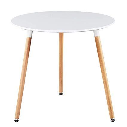 Snug Furniture - Mesa de Comedor Redonda Brillante con Patas de Haya, Blanco, 80 cm x 70 cm