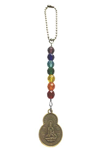 7 Chakras Quan Yin Goddess Buddha Blessings Coin Car Charm Czech Glass Beaded Auto Reflections Hanging Ornament Car Interior Decoration Car Accessories Home Decor Sun catcher