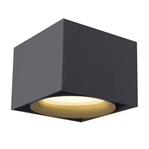 LANBOS 10W LED Aufbauleuchte Deckenleuchte/Deckenspots, Deckenfluter, Deckenstrahler, Decken-Lampe, Wand-Lampe/10x10x7CM/Würfelleuchte/3000K/Warmweiß(Schwarz+warmweiß)