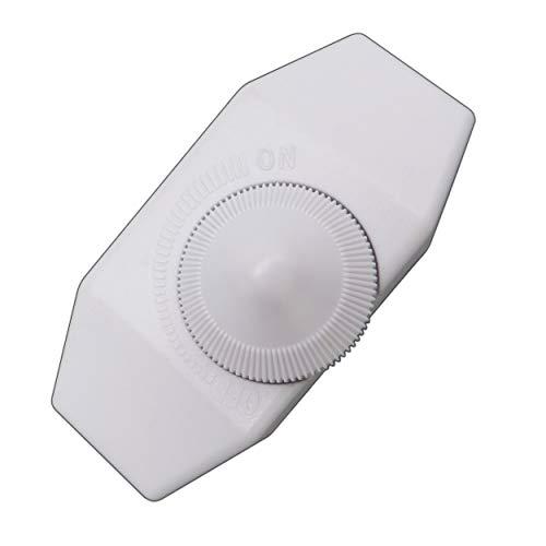 LED Dimmer (Schnur-Drehdimmer) 1-60 Watt stufenlos dimmbar / dimmen für dimmbare LED Leuchtmittel - Dimmschalter Schnur-Zwischendimmer Geräuschlos LED-Dimmer (weiß)