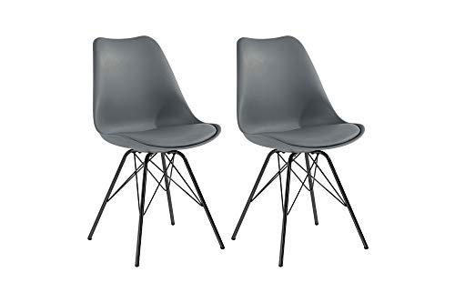 Homexperts URSEL Juego de 2 sillas, Piel sintética Gris, B 48 x H 86 x T 55,5 cm