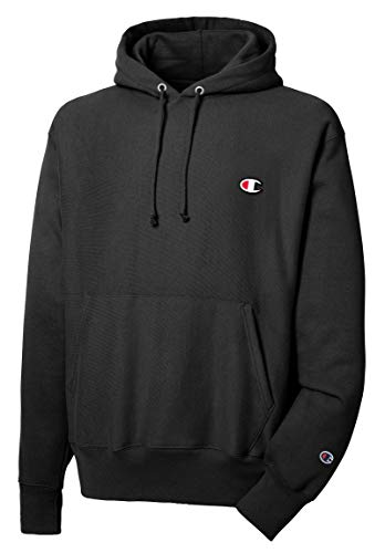 Champion Men's Reverse Weave Pullover Hoodie Print, Black, Large