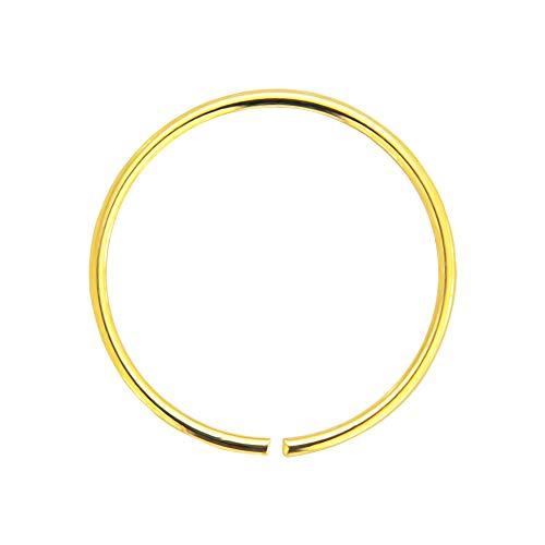 AZARIO LONDON 9K Yellow Gold 24 Gauge (0.4MM) - 8MM Diameter Seamless Continuous Nose Hoop Ring