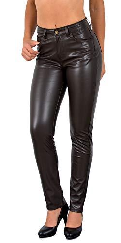 ESRA Damen Lederhose Kunstlederhose Damen Hose in Leder Optik bis Übergrösse J295