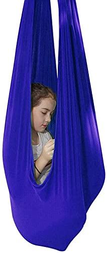 Kcanamgal Columpio de Terapia de Interior para niños, niños y Adolescentes con más Necesidades Especiales, Hamaca de Abrazo Ideal para Autismo, TDAH,Azul,150x280cm