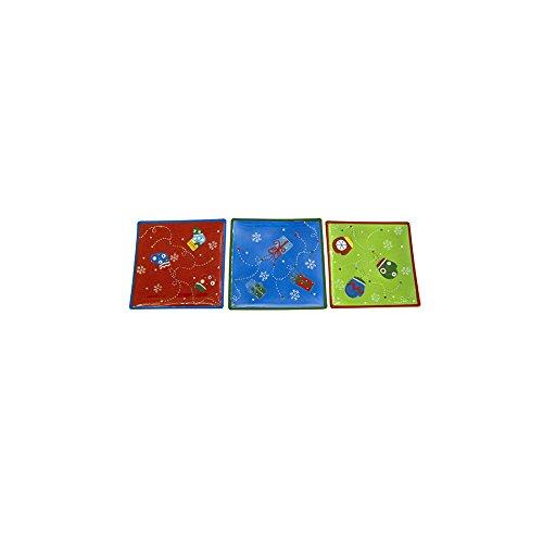 H&H Pengo 109 Centrotavola Natale, Quadrato Multicolore 23, Ceramica, 24x24x2 cm