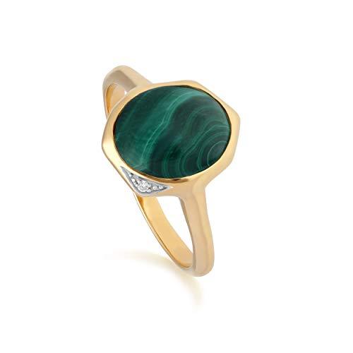 Irregular B Gema Malaquita & Anillo con Diamante en Oro Bañado en Plata de Ley - Verde