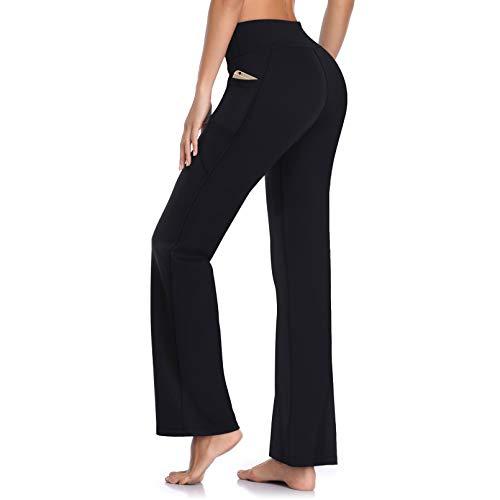 HISKYWIN Side Pockets Yoga Pants 4 Way Stretch Tummy Control Workout Running Pants, Long Bootleg Flare Pants HF201-Black-L