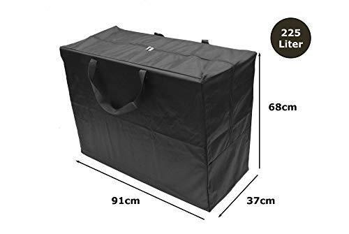 Große Aufbewahrungstasche/Transporttasche TRAVEL für Klappmatratzen bis 90x200x12cm | b 91 x h 68 x t 37 cm (225 Liter) Tragetasche mit Henkel und Reißverschluss