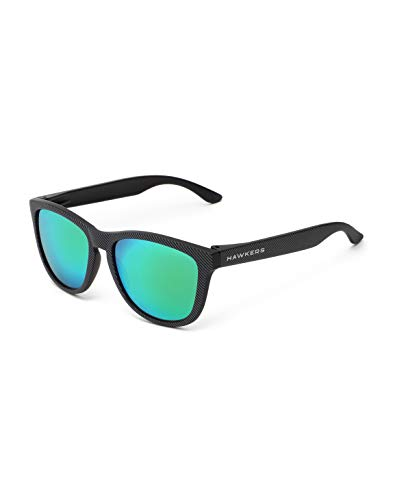 HAWKERS Gafas de Sol, Hombre y Mujer, con Montura Negra Mate con Trama y Lente Esmeralda Efecto Espejo, Protección UV400, Carbon · Emerald, One Size Unisex-Adult