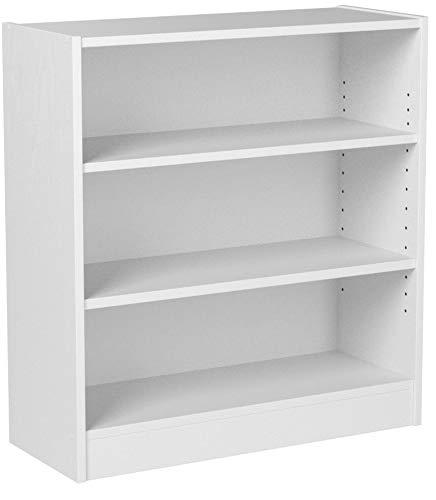 Mainstay 3-Shelf Bookcase - Wide Bookshelf Storage Wood Furniture 1 Fixed Shelf 2 Adjustable Shelves Bookcase White