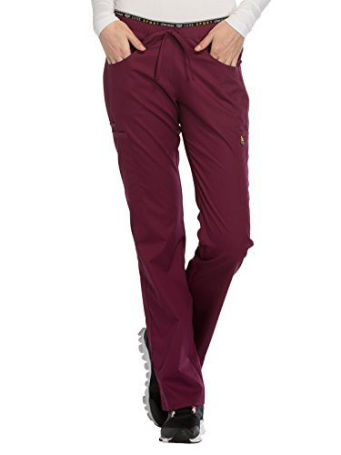 CHEROKEE Luxe Sport Mid Rise Straight Leg Pull-on Pant, CK003, L, Wine