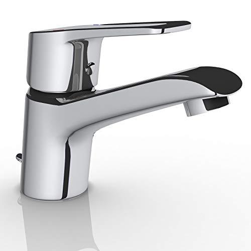Grifo de lavabo Latón, Cromado.Grifo baño, Agua Fría y Caliente,Grifo Baño Clásico, Mezclador Monomando para Lavabo