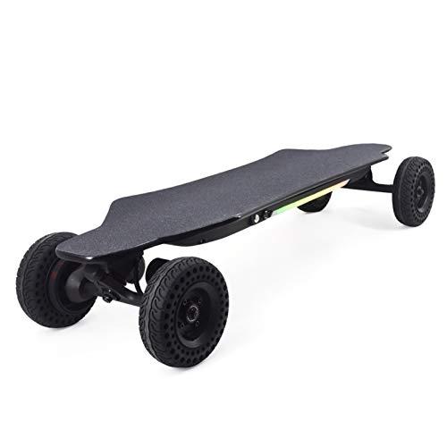 Skateboard Elettrico con Telecomando, Adulti Doppio Motore Longboard Elettrico off Road, LED Cruiser Skate Elettrico 40 Km/h in Acero 8 Strati Adolescenti, Reichweite 20 Km