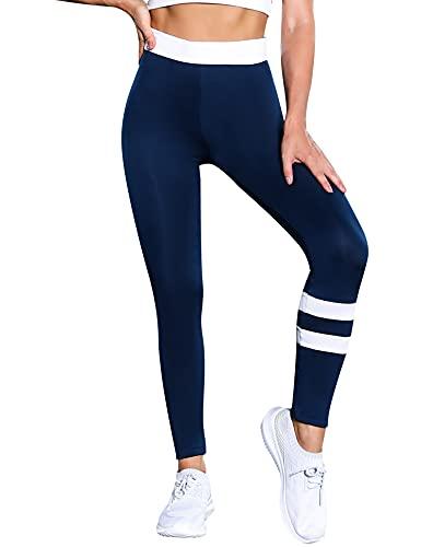 Wayleb Leggings Sportivi Donna Leggins Donna Push up, Yoga Pantaloni Palestra Pants Vita Alta Elastici Morbido per Fitness Yoga Jogging,Small+Blu