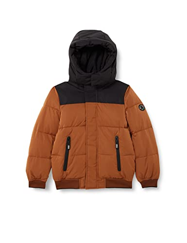 Scotch & Soda Shrunk Water Repellent Hooded Puffer Jacket with Repreve Filling Piumino Lungo, Cacao 0477, 16 Bambino