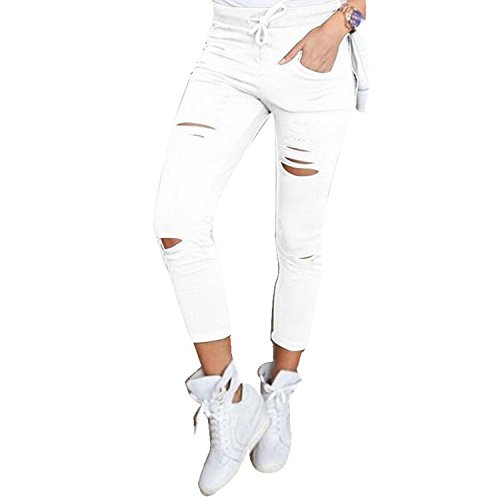 Live It Style It Pantaloni jeggings skinny da donna elasticizzati, strappati White Small