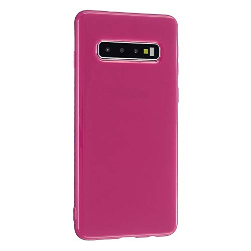 CrazyLemon Hülle für Samsung Galaxy S10, Niedlich Volltonfarbe Glatt Gelee Design Weich Silikon Slim Dünn Handyhülle Stoßfest Schutzhülle - Rosenrot