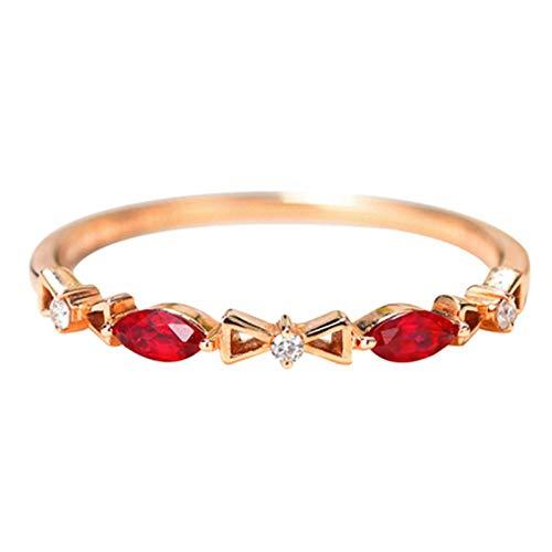 Aeici Alianzas Mujer Oro rosa 18k, Anillo De Compromiso Oro Rubí Diamante 0.15ct, Redonda, Talla 25