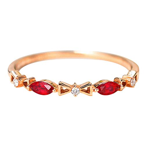 AMDXD Anillo de Mujer de Oro 18 K, Anillo Boda Compromiso Bowknot Diseño 0.15ct Ovalada Rubí con Diamante, Oro Rosa, Tamaño 6,75 (Perímetro: 47mm)