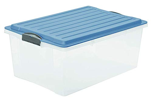 Rotho Eco Compact Aufbewahrungsbox 38l - 57 x 40 x 25 cm - transparent/blau