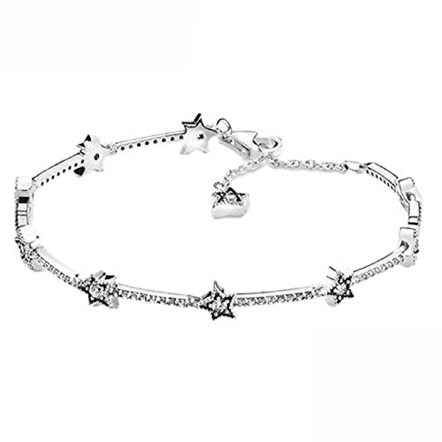 Q4S Pulsera De Plata De Ley 925 para Mujer, Brazalete con Cadena De Serpiente, Encanto, Forma De Árbol De Estrella,Joyería DeMargarita-Pulsera de Plata 2