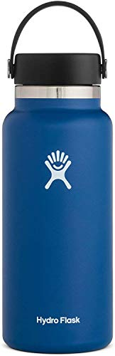 Hydro Flask Water Bottle - Stainless Steel & Vacuum Insulated - Wide Mouth 2.0 with Leak Proof Flex Cap - 32 oz, Cobalt