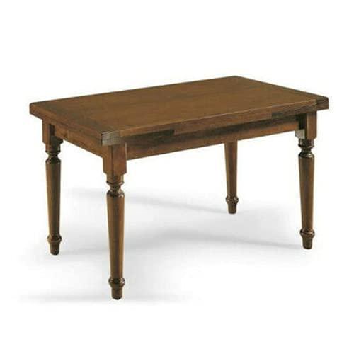 Tavolo Rettangolare Allungabile fino a 230 cm, con gambe Tornite, Legno Massello, Noce scuro, Arte Povera, con 2 Allunghe da 35 cm. - Mis. 160X85X75 cm.