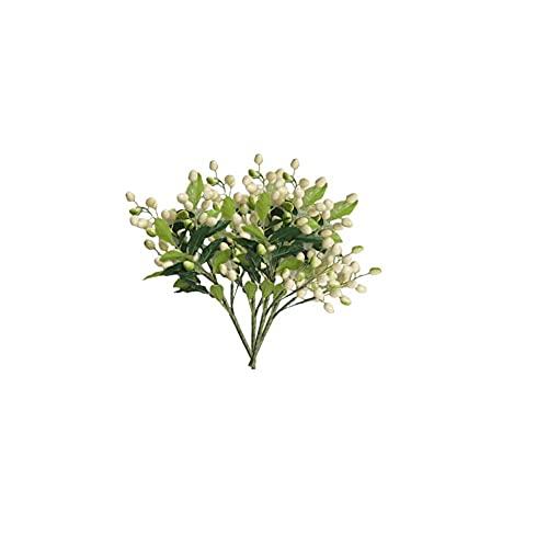 FLOWRY - 4 rami di ulivo artificiali con rami di ulivo e rami di ulivo con frutta artificiale in plastica per la decorazione della tavola della casa di nozze e del giardino