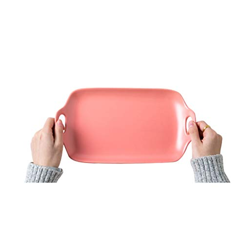 YYF Assiette en céramique carrée anti-brûlure à deux oreilles - collation/fruits/plat froid/salade/steak de diamètre 24,2 cm (Color : Pink)