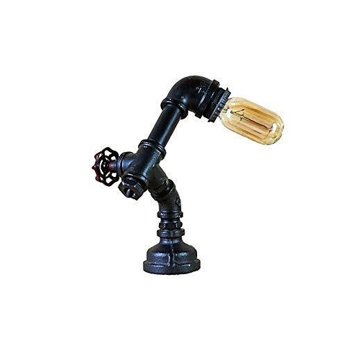 Popertr Vintage Industrial Steampunk Tischlampe Beliebte Kupferrohr Nachttischlampe Kreative Wasserrohr Retro Tischlampe LED Lesen Tischlampe Persönlichkeit Nachttischlampe E 27