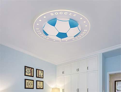LHY LOFT Fútbol LED Infantil Plafón,Infantil Lámpara De Techo,Infantil Habitación Plafón,Diseño Pintura Creativa Cuerpo De La Lámpara Lámparas Decorativas,Azul,A:42CM24W
